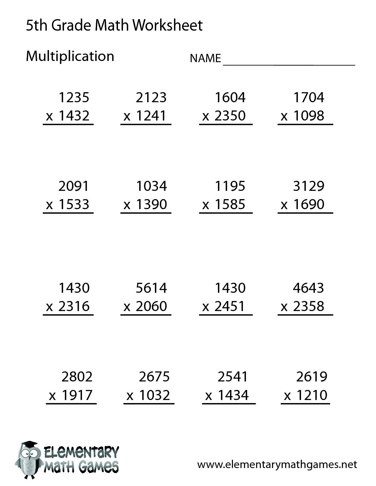 Printable Grade 5 Multiplication Worksheets