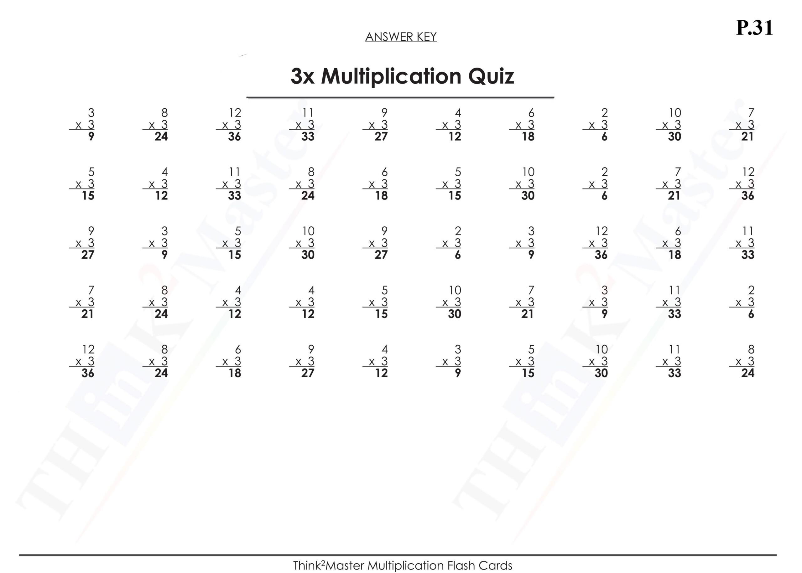 Free Printable Multiplication Quiz