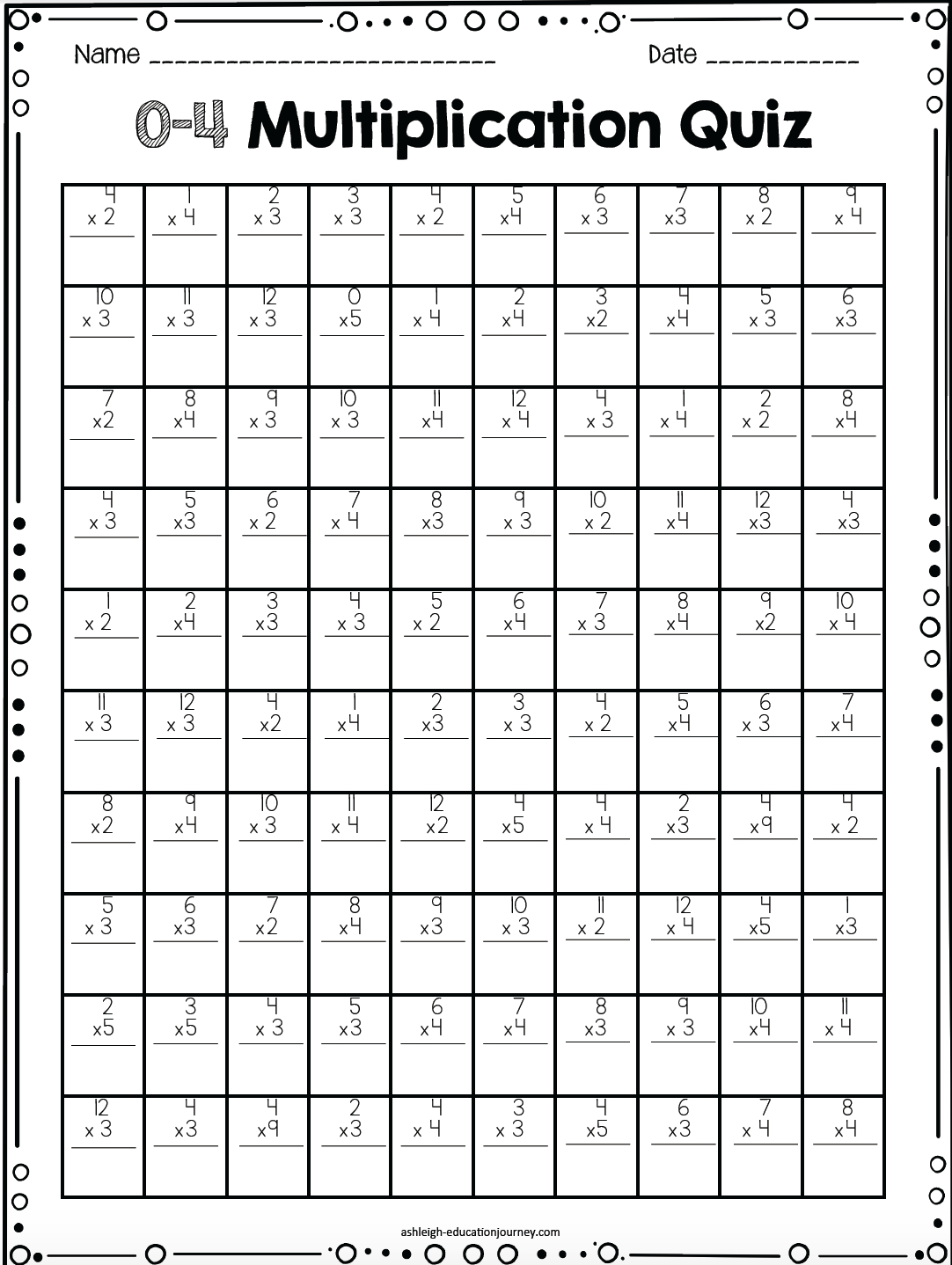 Printable 100 Multiplication Facts Timed Test