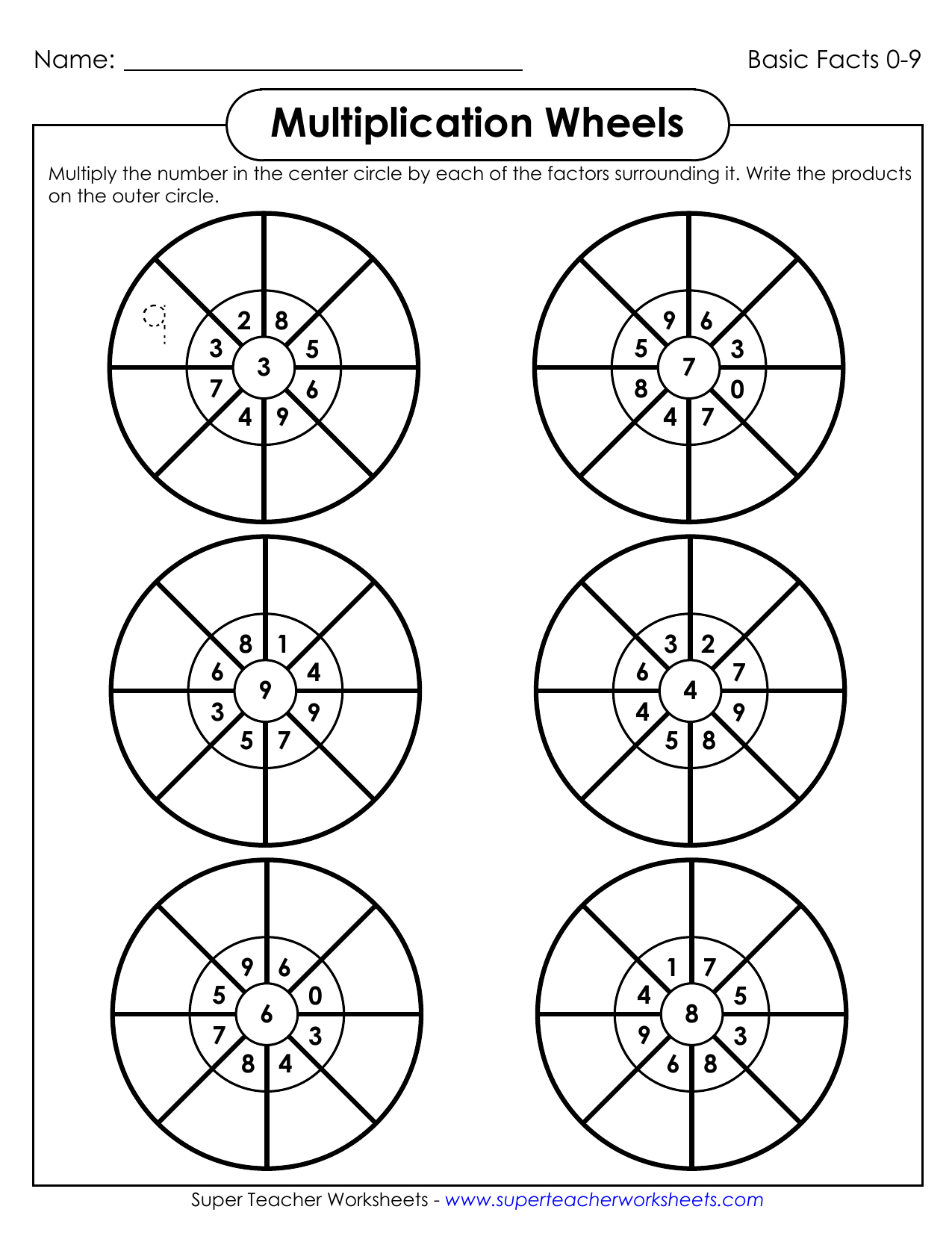 Printable Multiplication Wheels