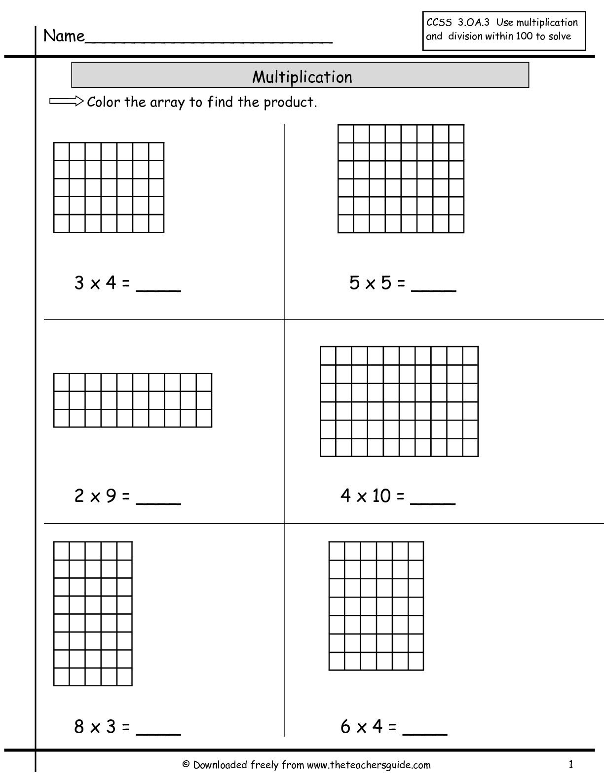 Multiplication Worksheets Area Model
