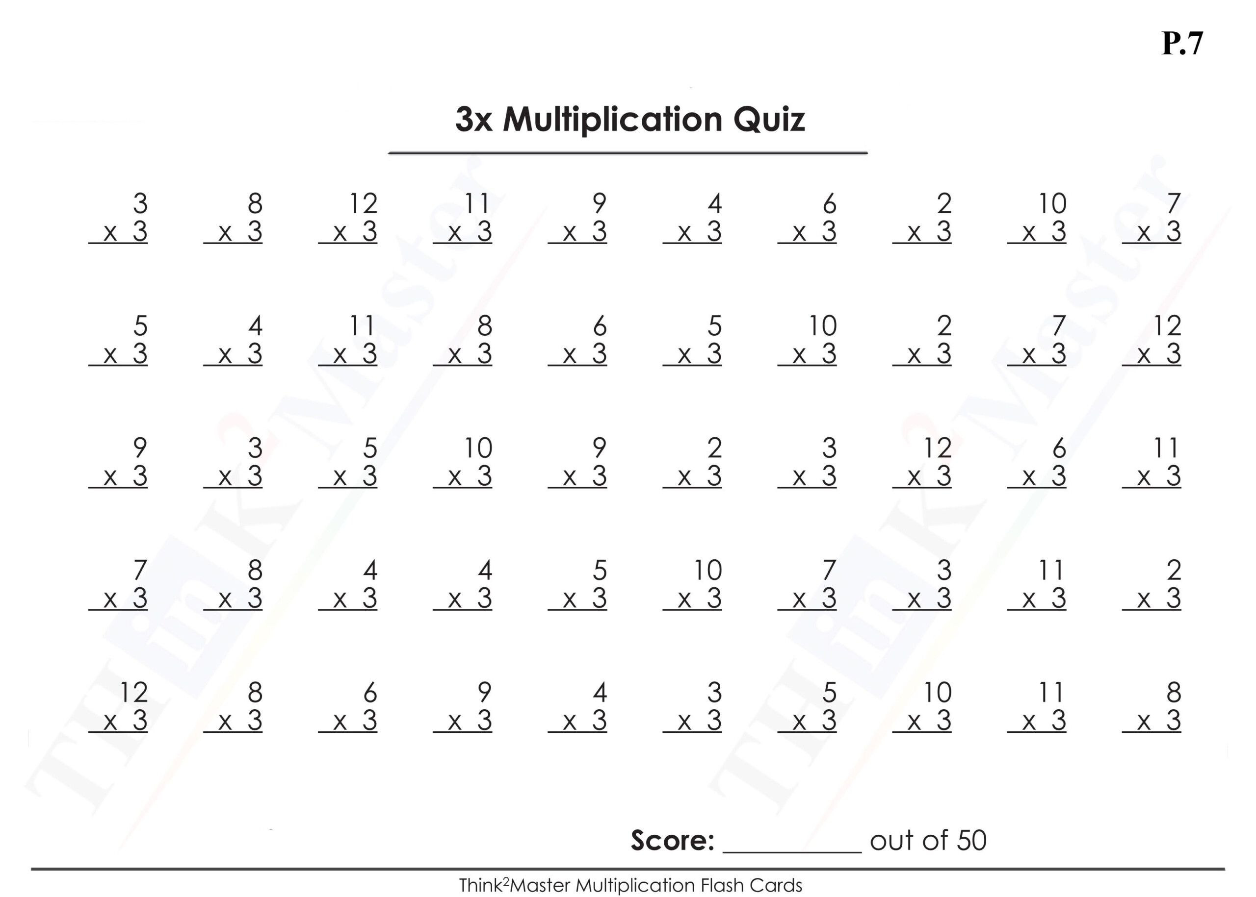Printable Multiplication Worksheets X3