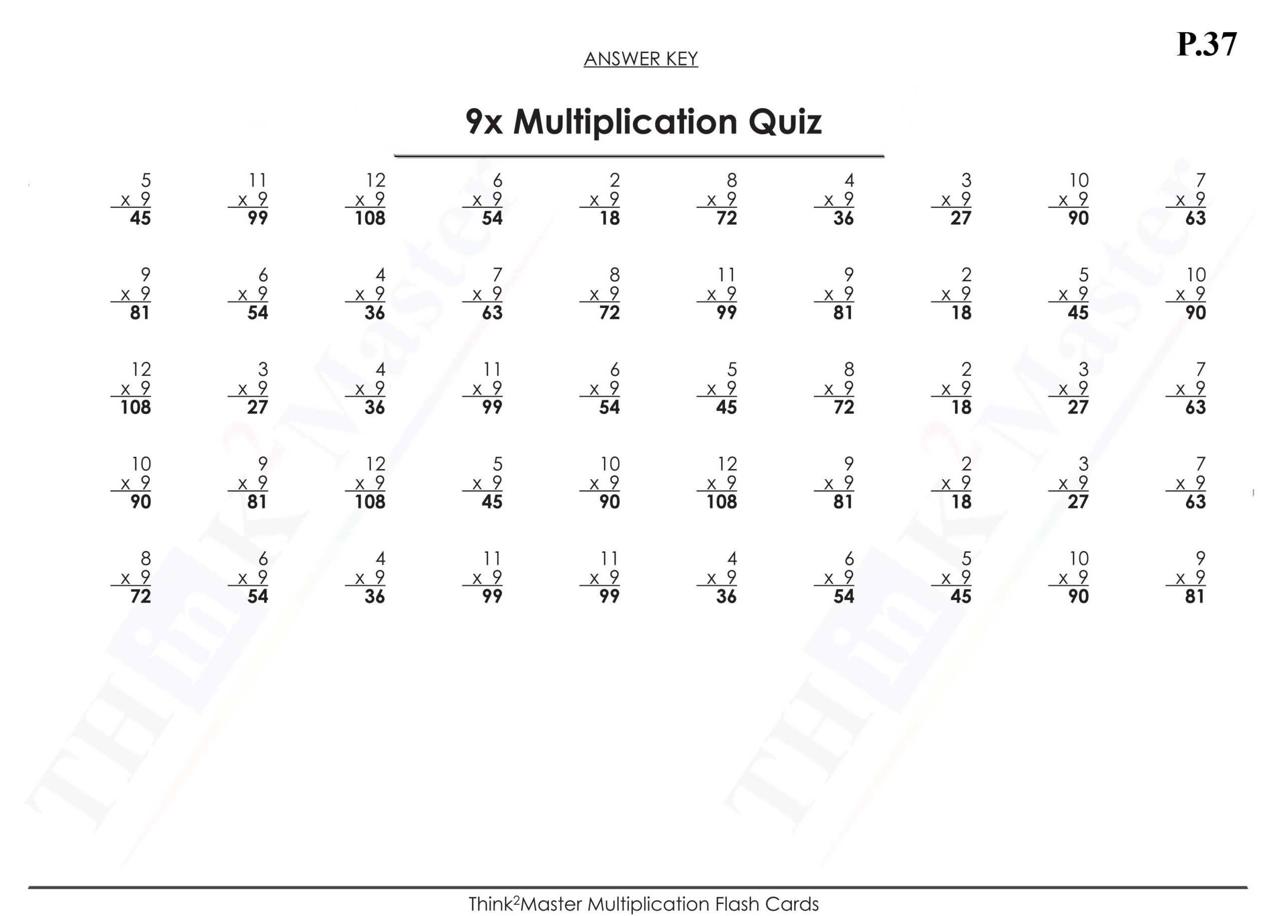 Multiplication Worksheets 9x