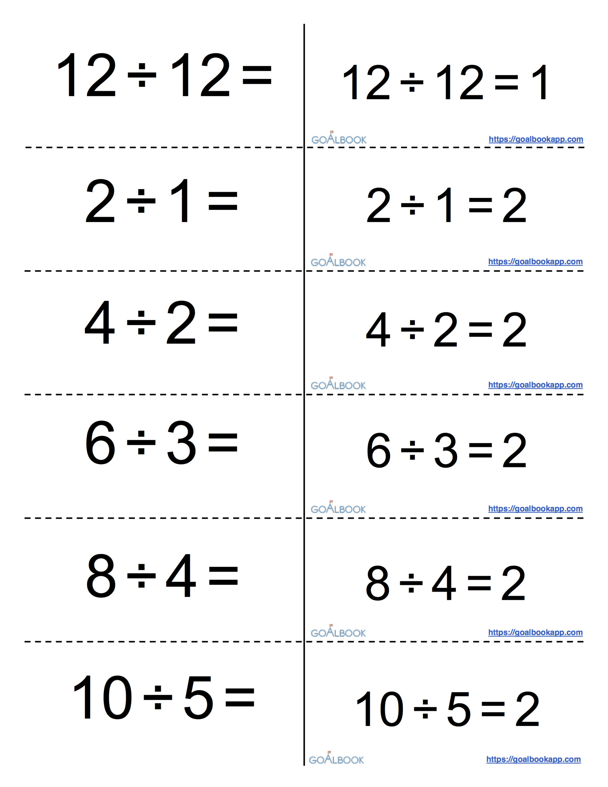 Printable Multiplication And Division Flash Cards