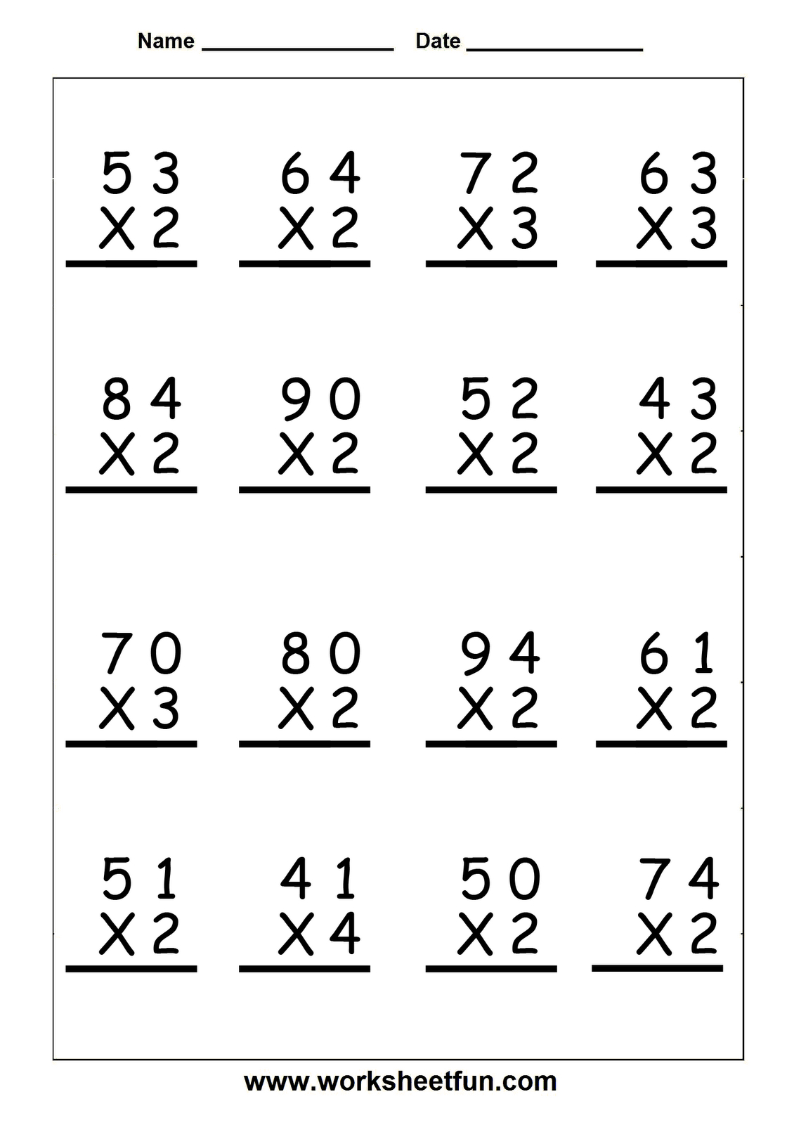 Printable Multiplication Problems For 5th Grade