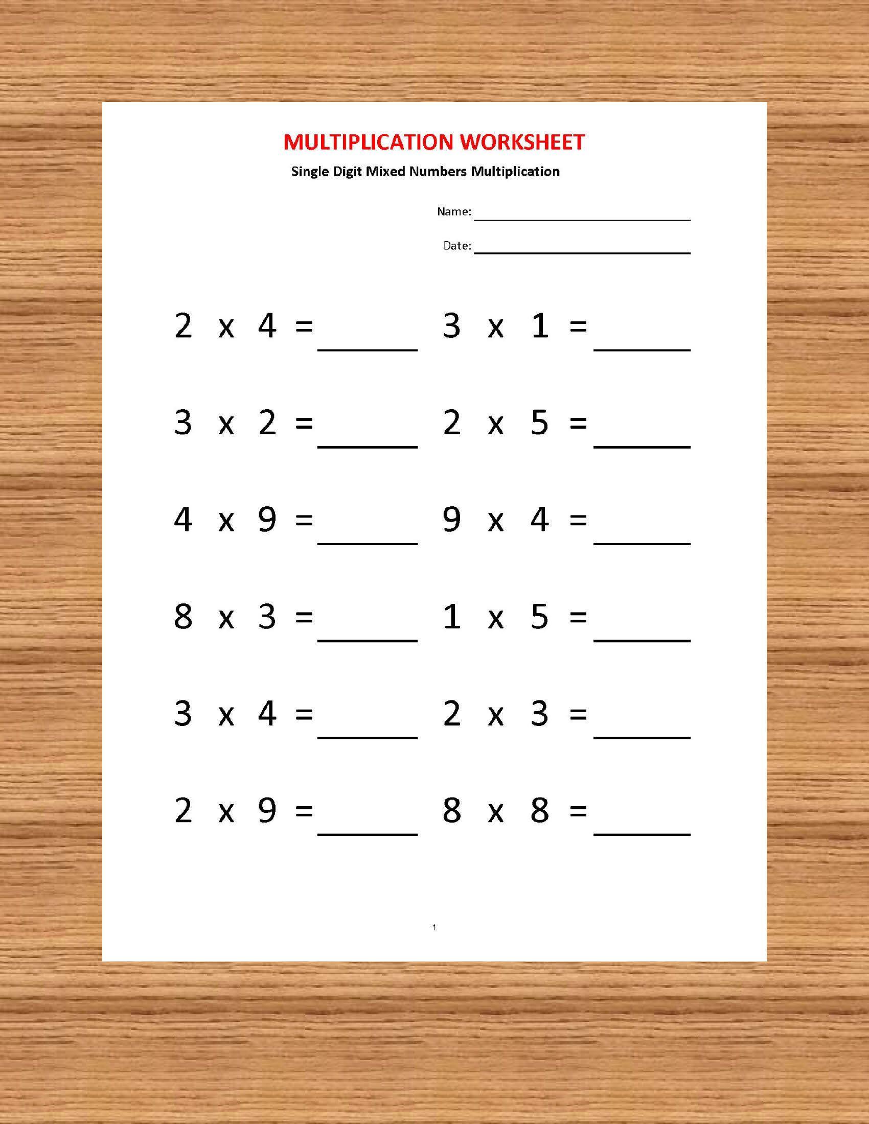 Multiplication Worksheets Year 4