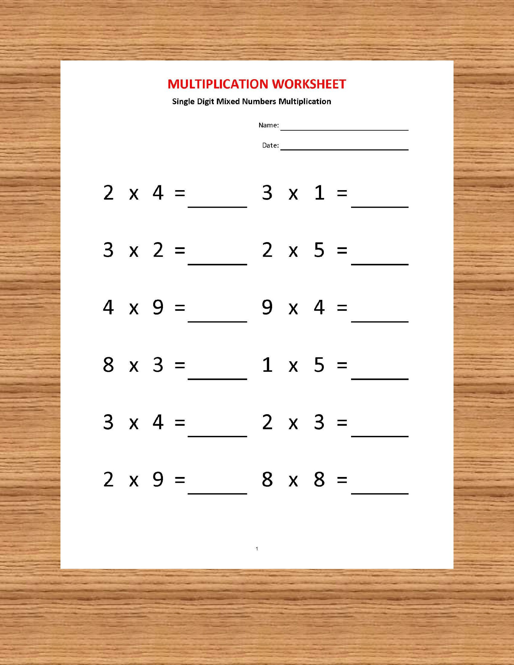 Worksheets On Multiplication For Grade 2