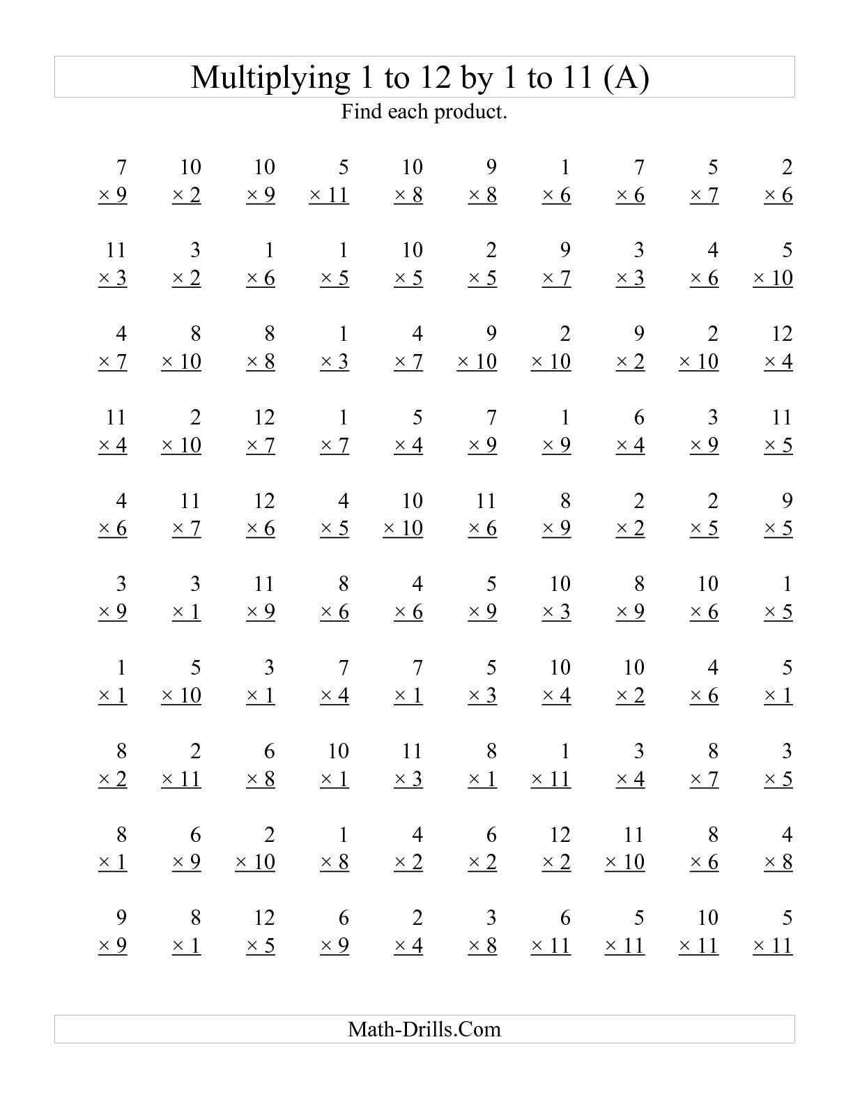 Printable Multiplication Speed Drills