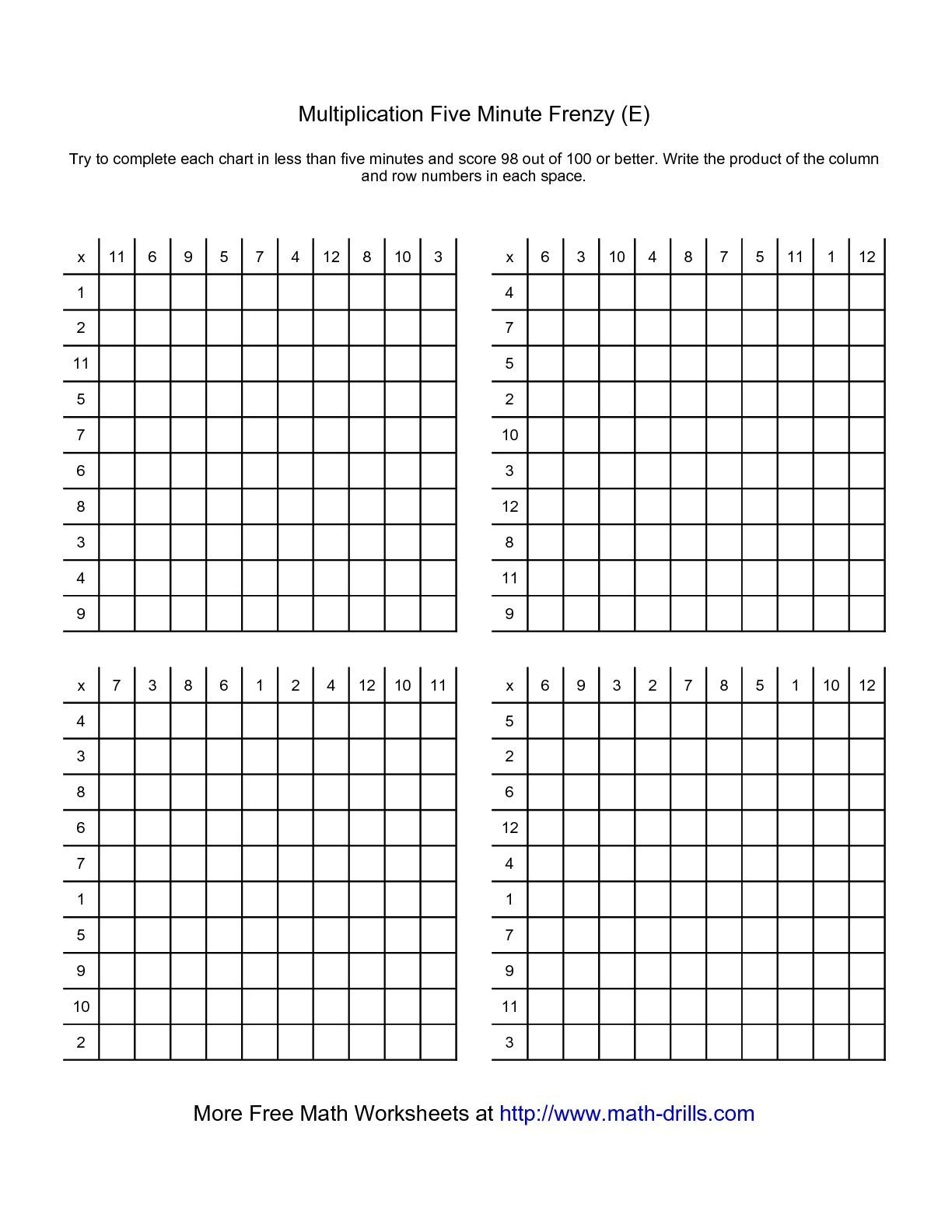 Printable 5 Minute Multiplication Drill