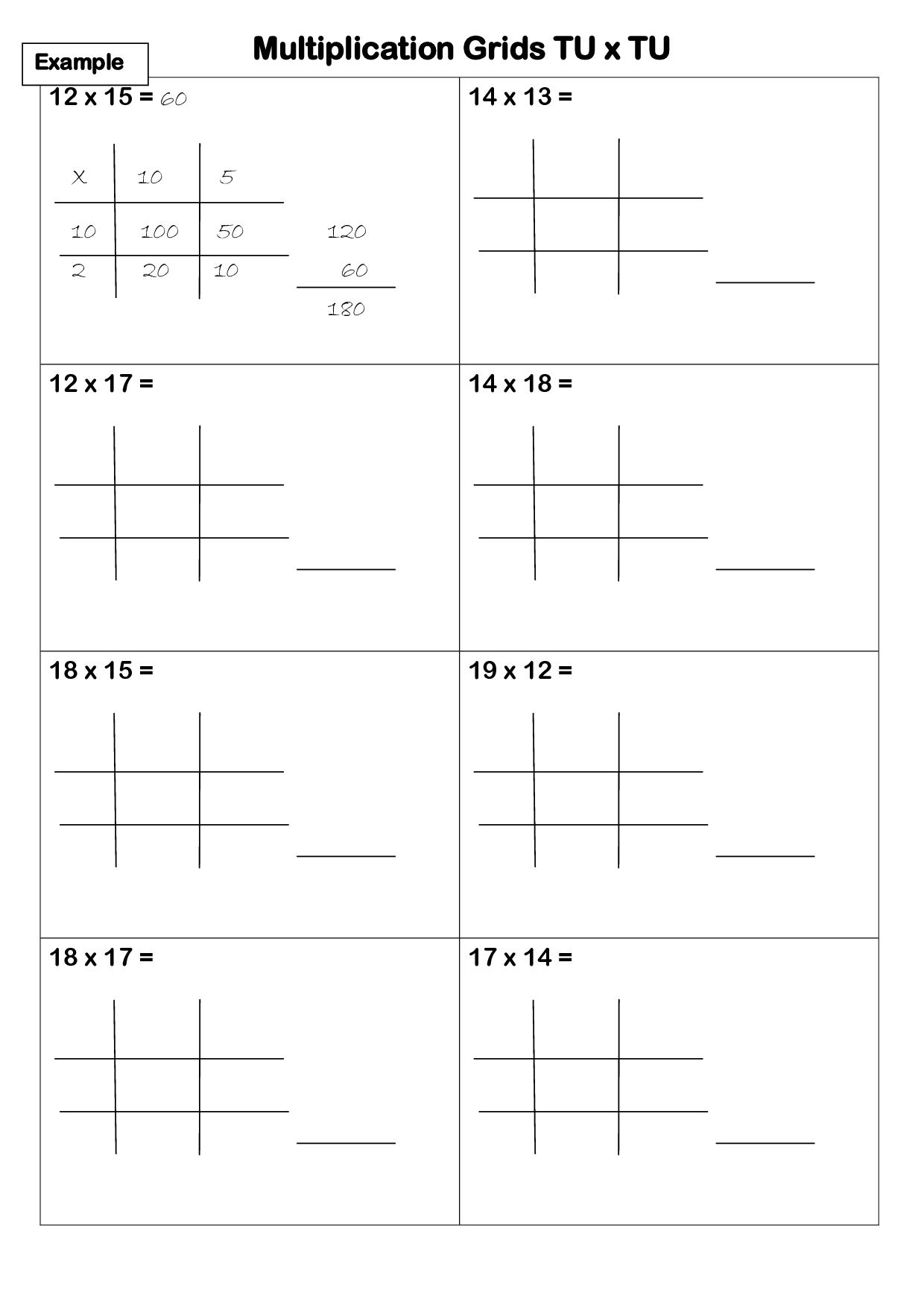 Multiplication Worksheets Lattice