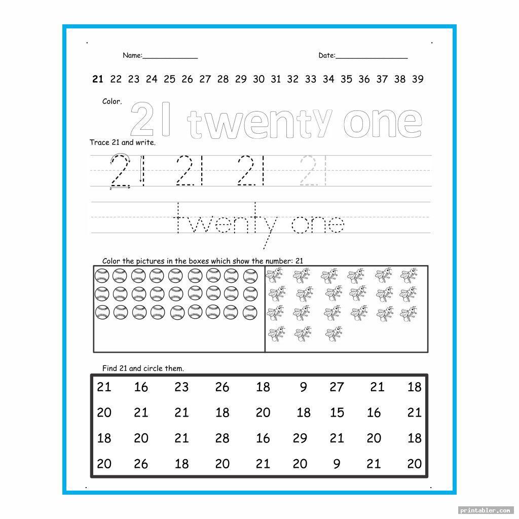 Number 21 Worksheet Printable