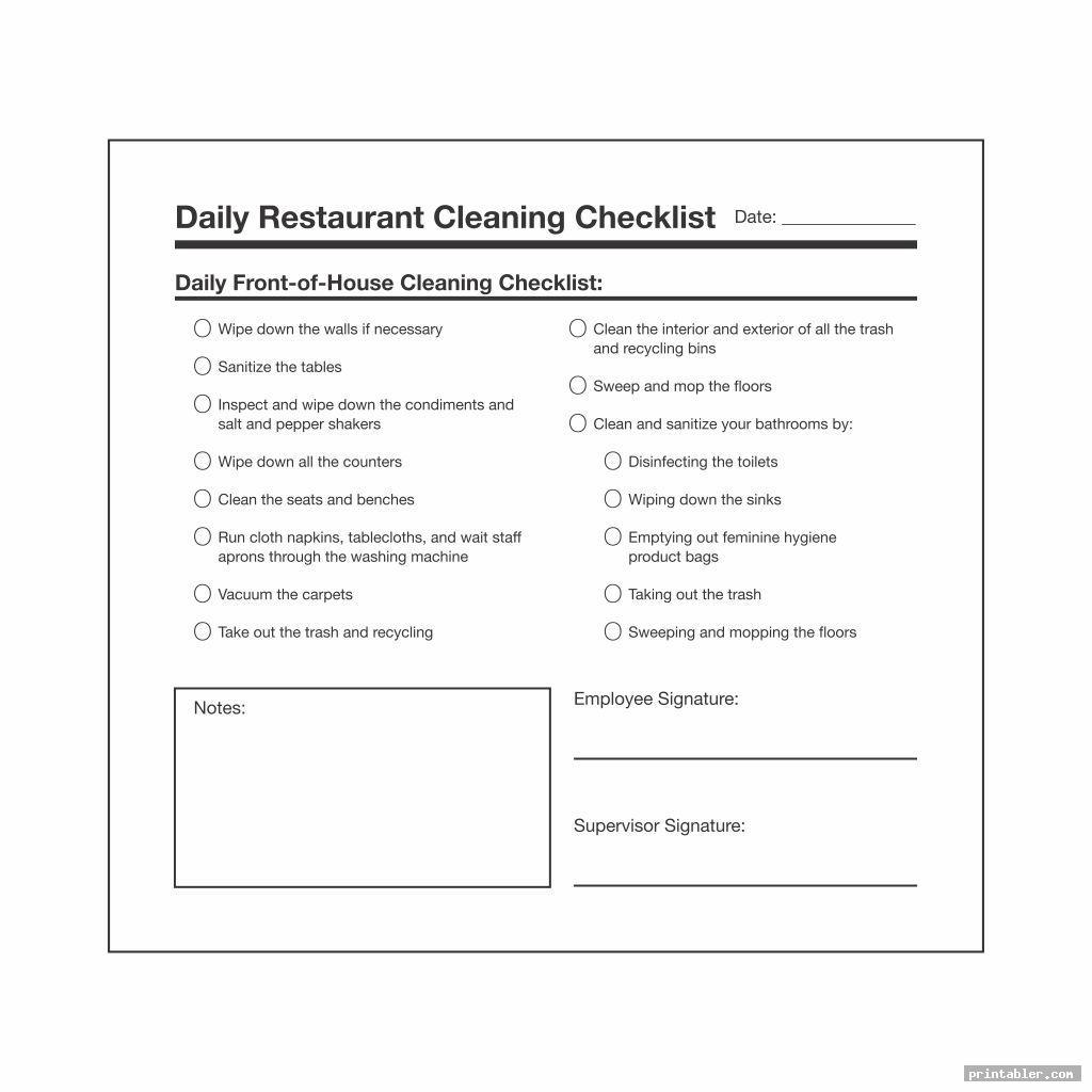 Restaurant Bathroom Cleaning Checklist Printable