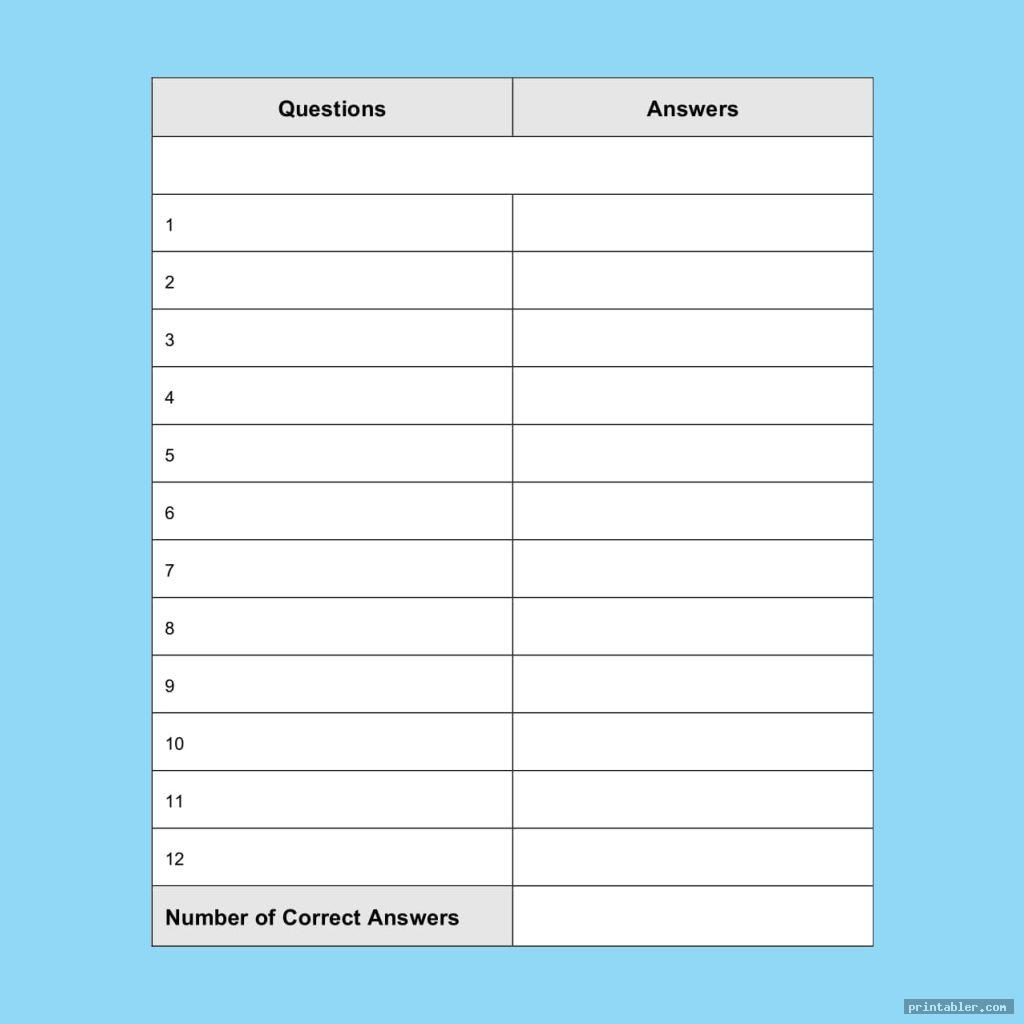 The Best Scattergories Answer Sheets Printable