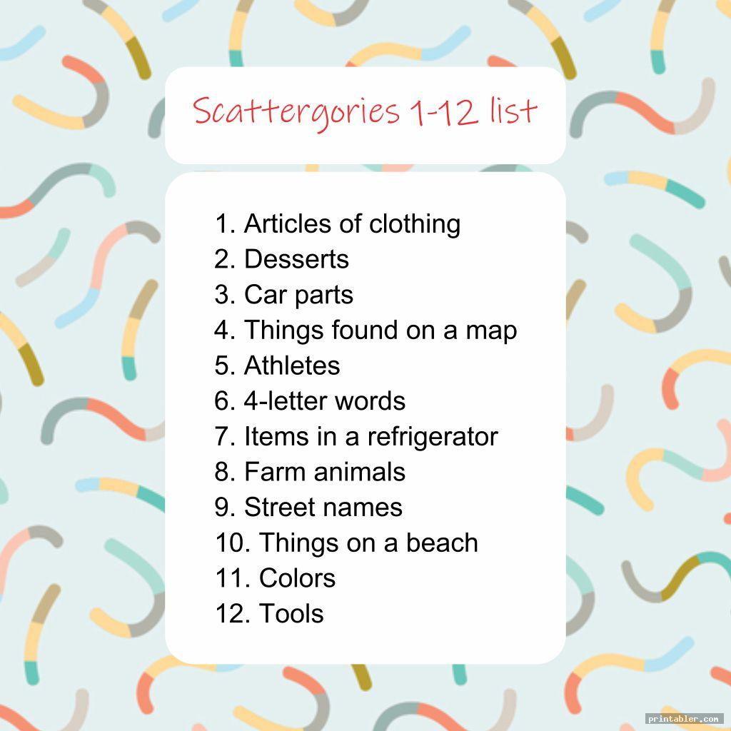 Scattergories Answer Sheets Printable That Are