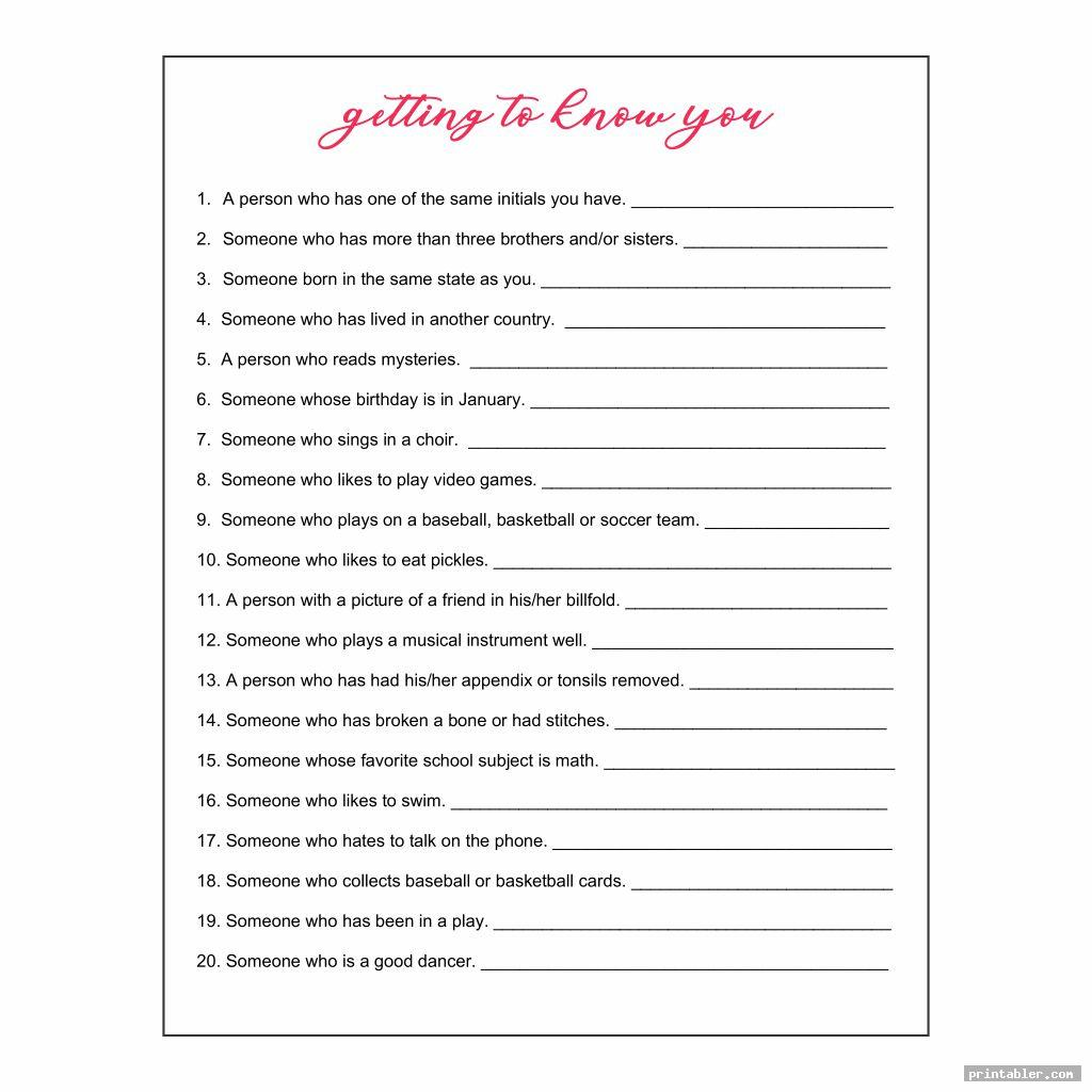 Getting To Know You Printables For Adults