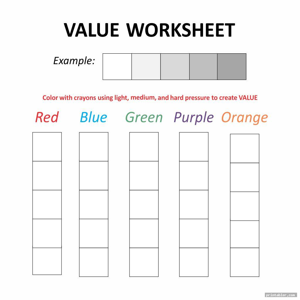 Texture In Art Worksheet Value Scales
