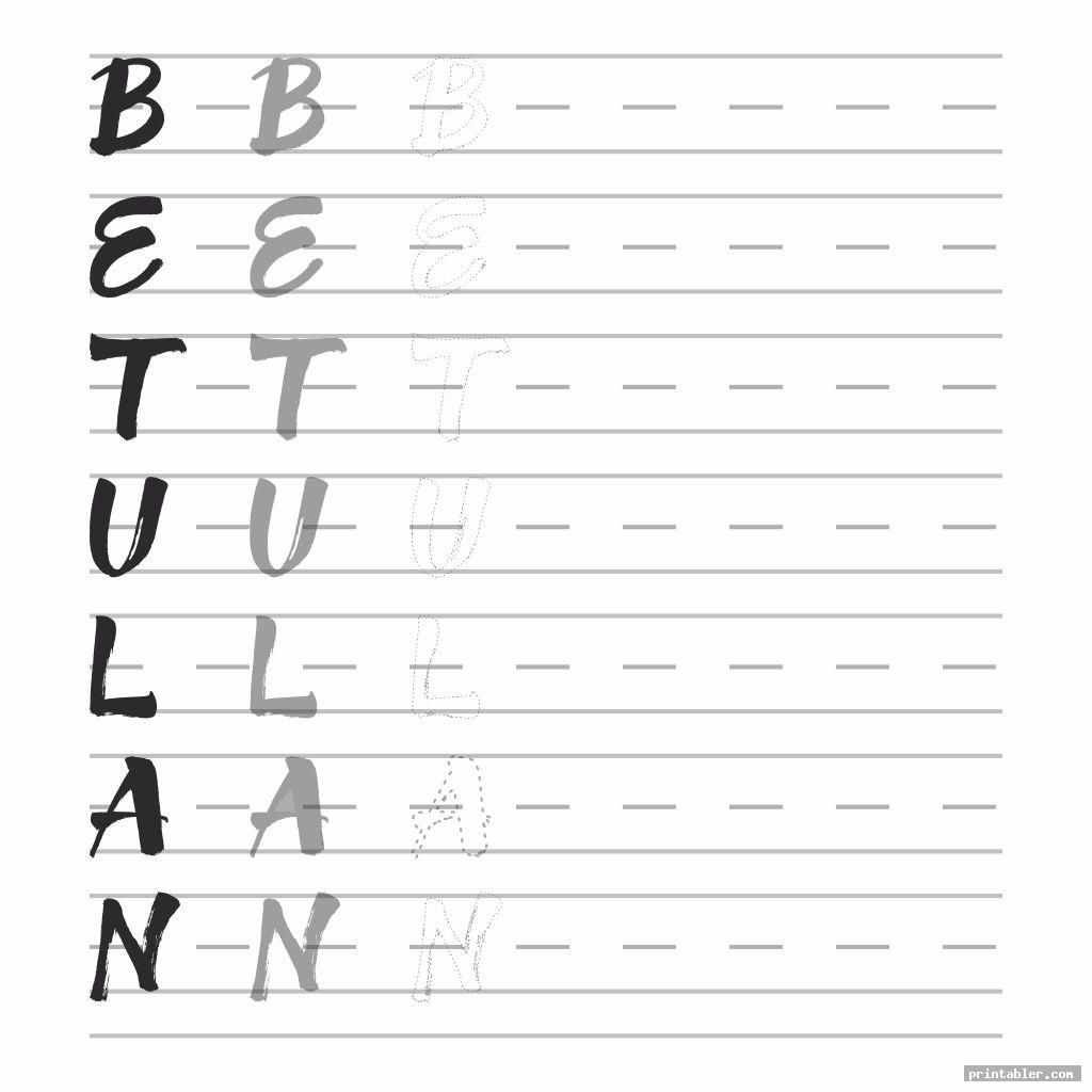 Traceable Calligraphy Letters Printable Worksheets