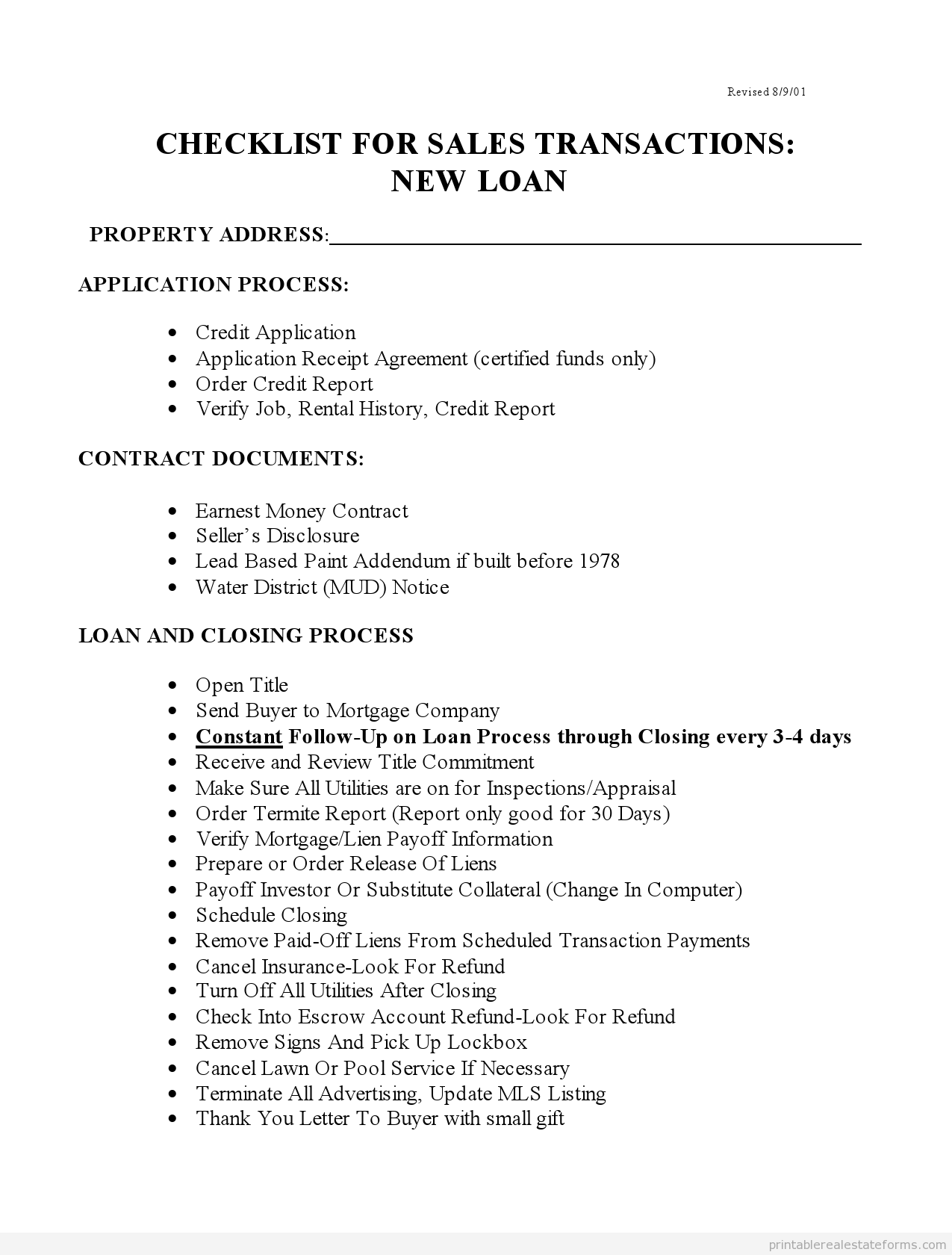 Printable Checklist For Sales With New Loans Form