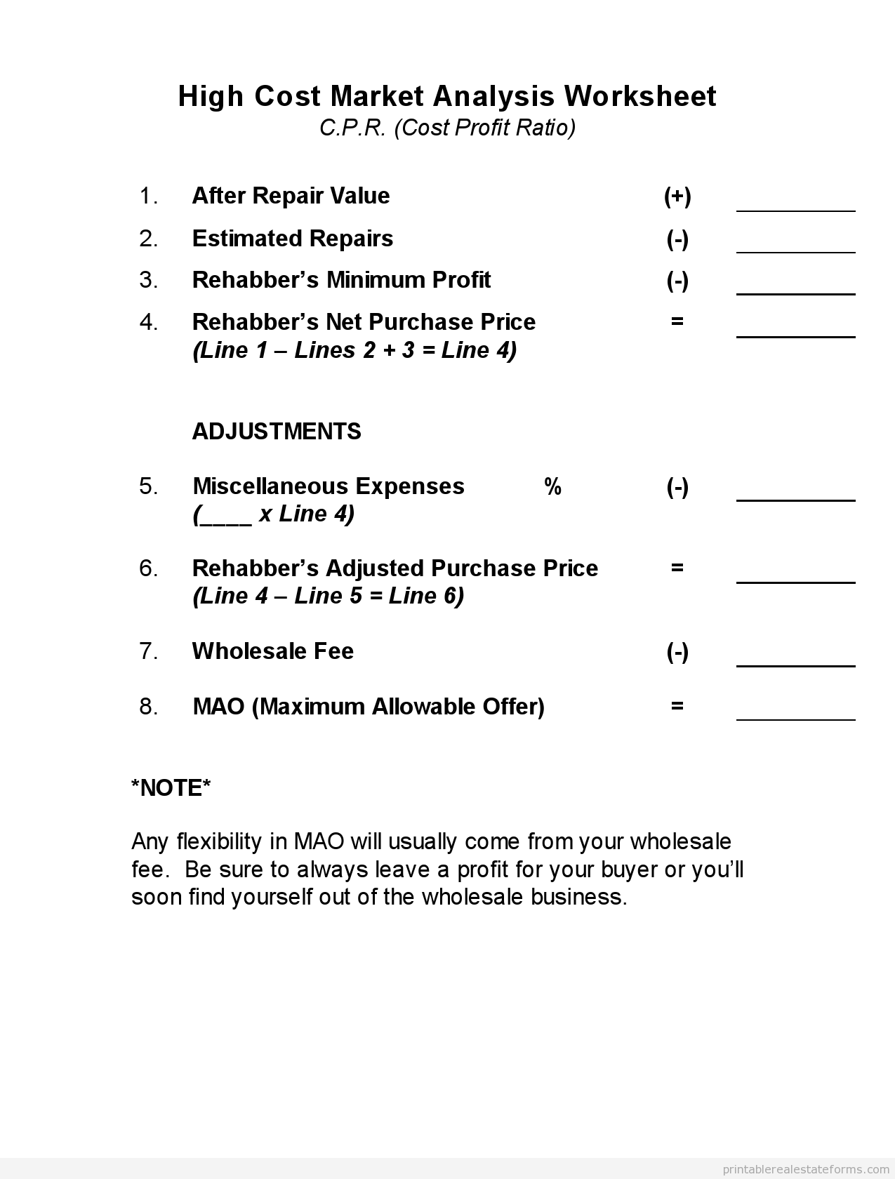 Real Estate Worksheet