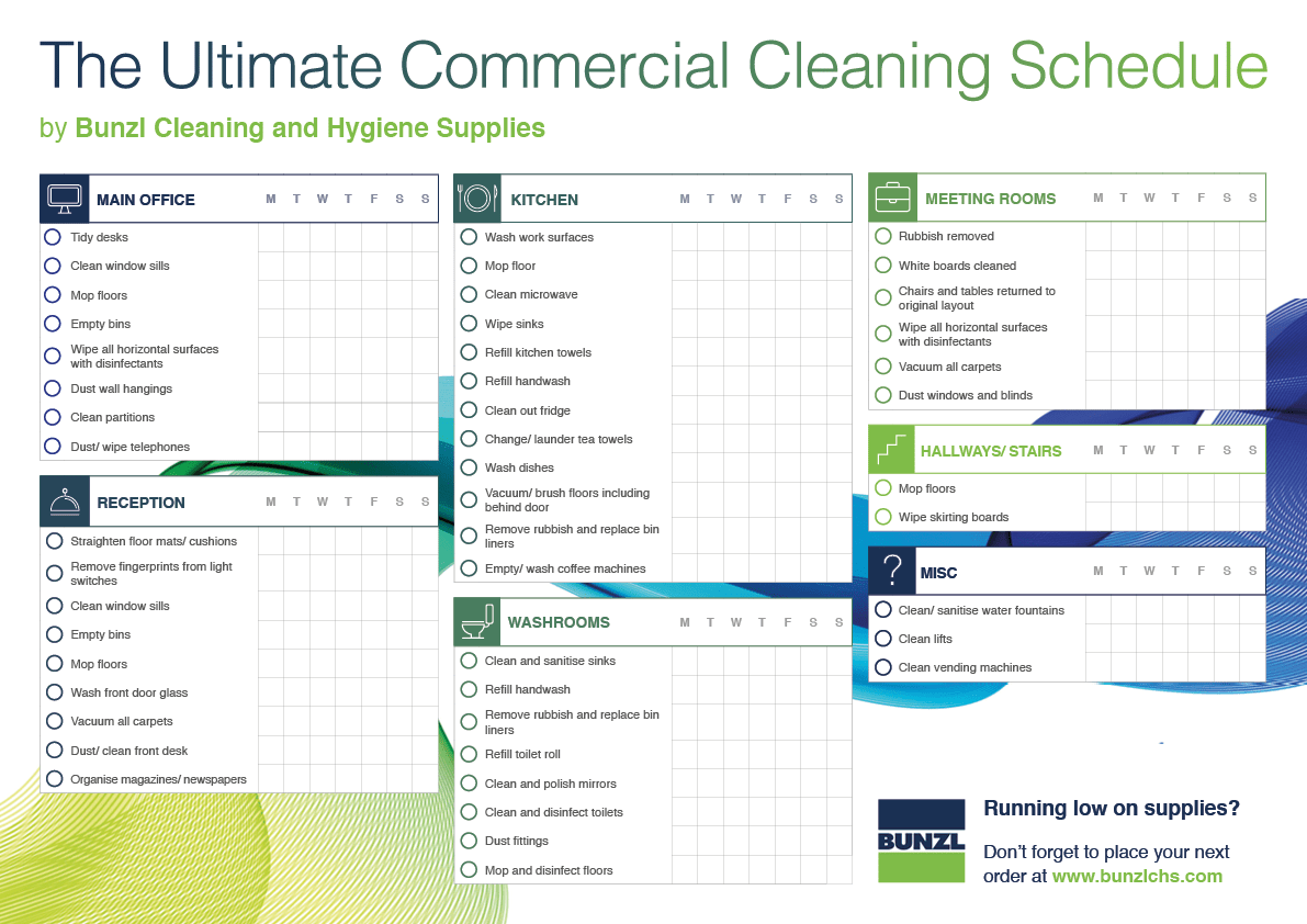 Cleaning Schedule Template For Office