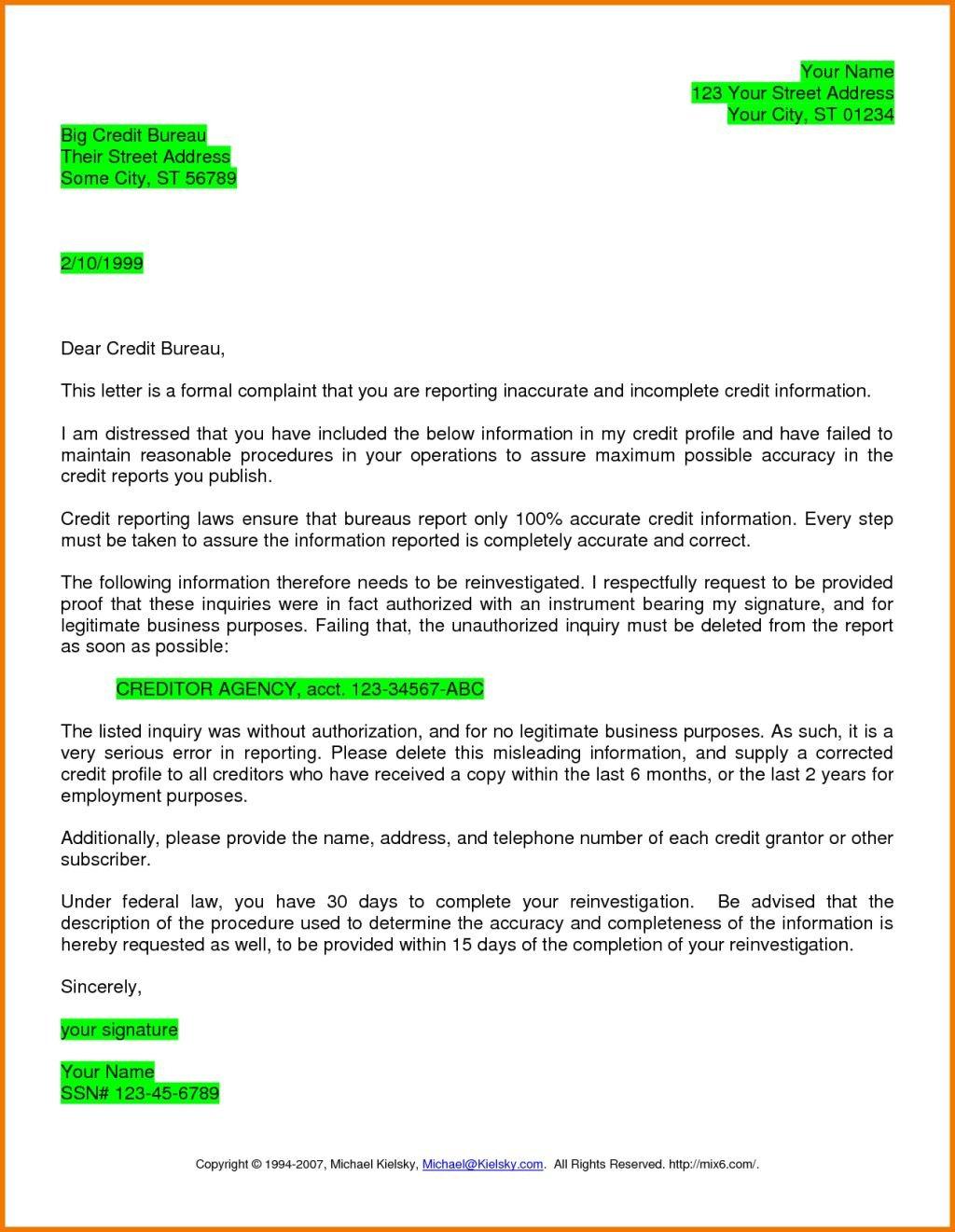 Dispute Letter To Credit Bureau Template Printable