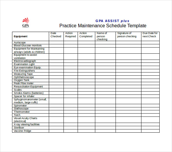 Plant Maintenance Schedule Template Excel Printable Receipt Template