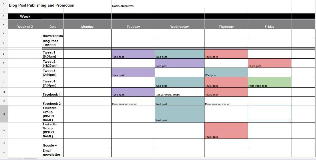 Social Media Calendar Template Google Docs Printable Receipt Template