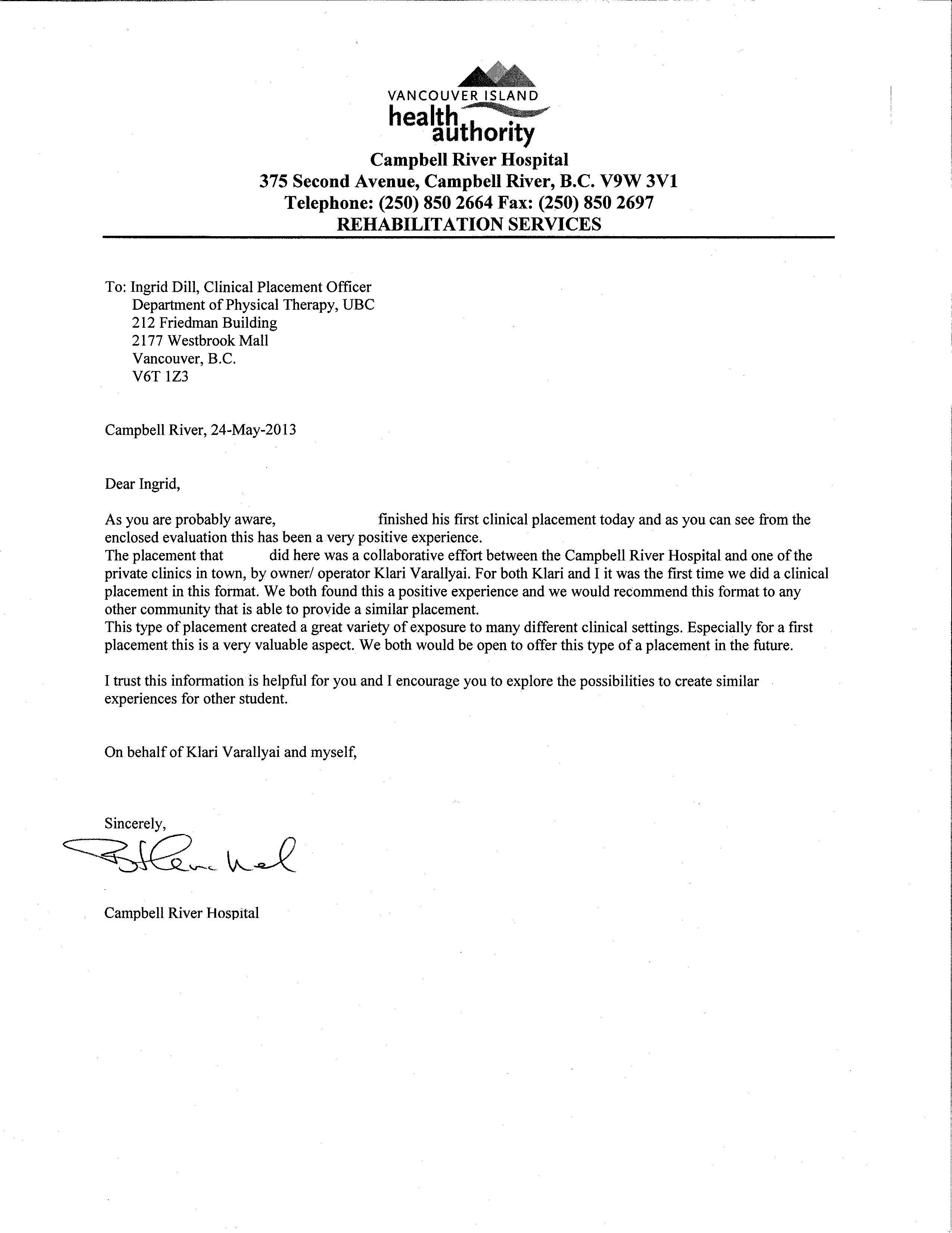 Student Recommendation Letter Pt