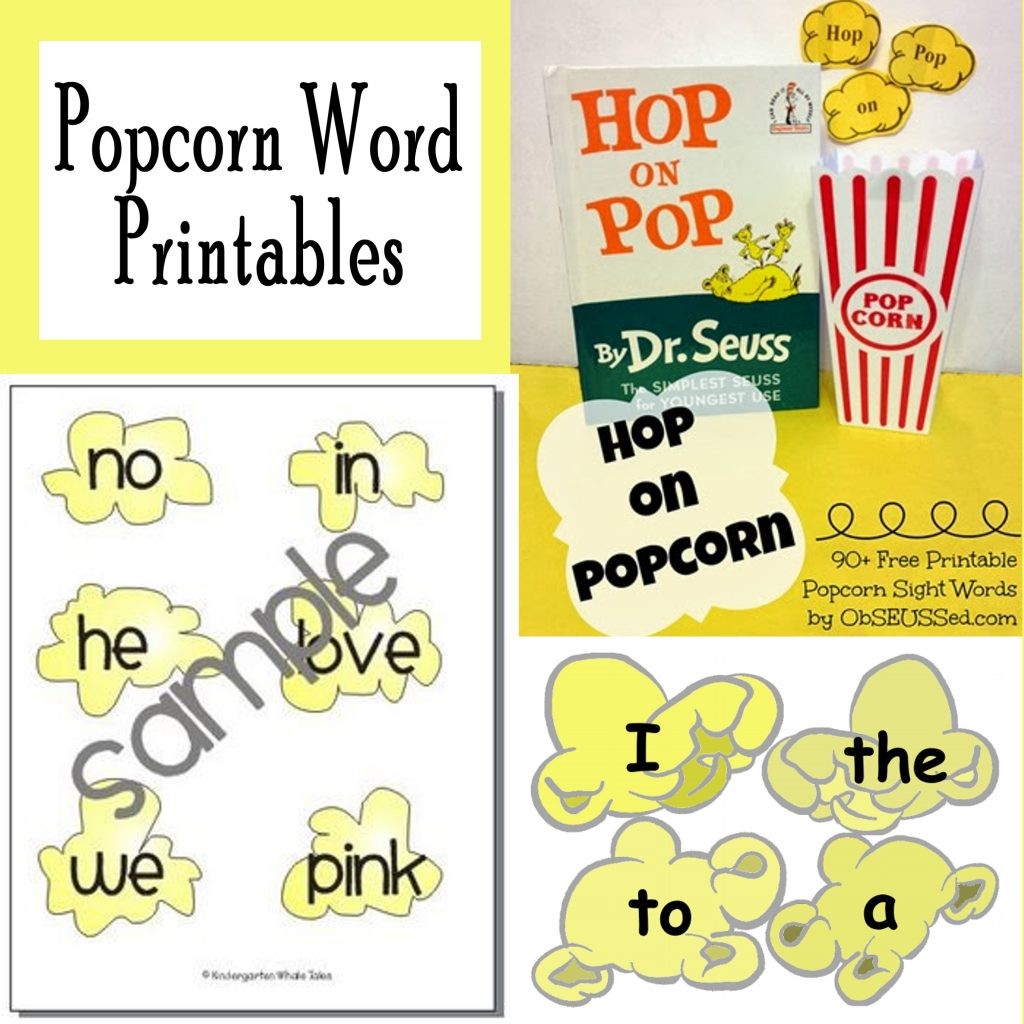 Printable Popcorn Sight Words Free Printables