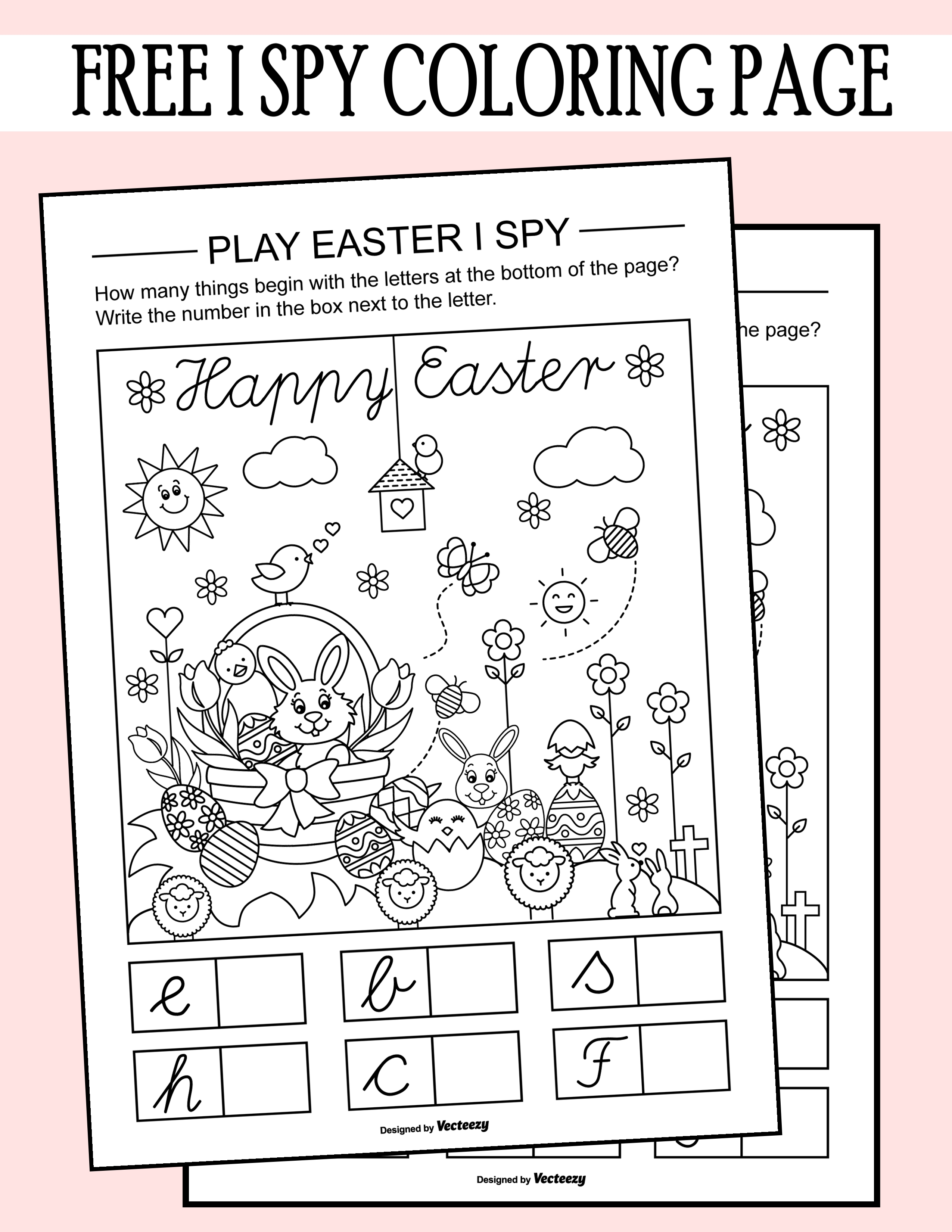 Easter I Spy Coloring Page Printable Worksheet