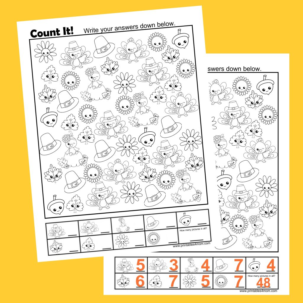 Free Thanksgiving Count It Printable