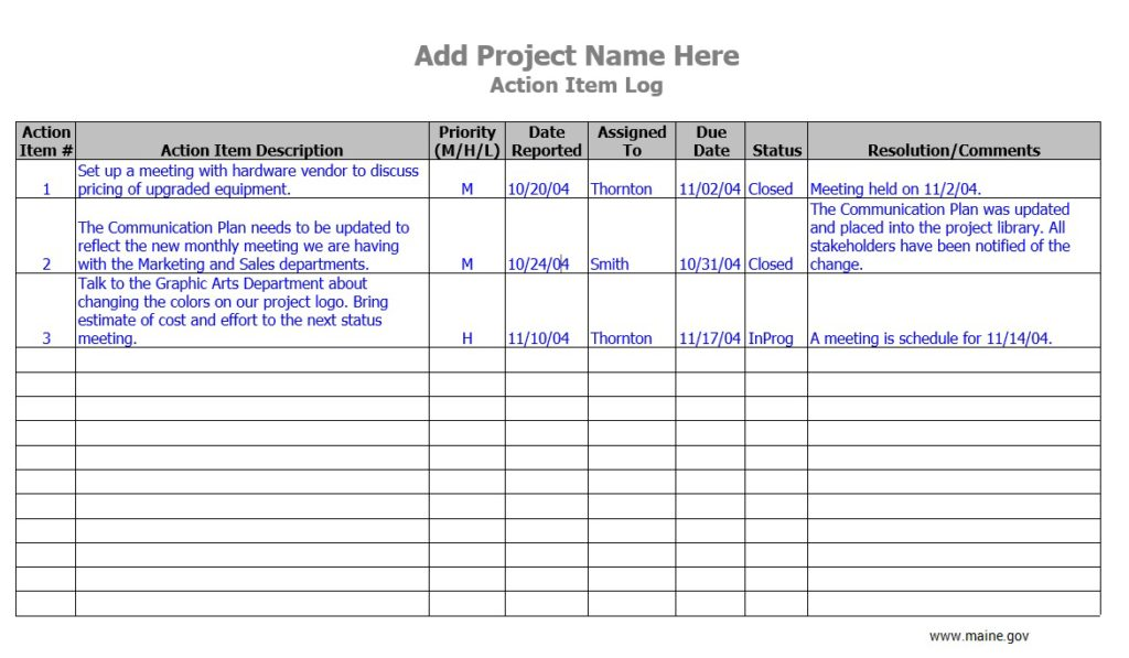 A change request log is a document that's used to record all change requests that are received during the life of a project. 10 Free Sample Action Log Templates Printable Samples