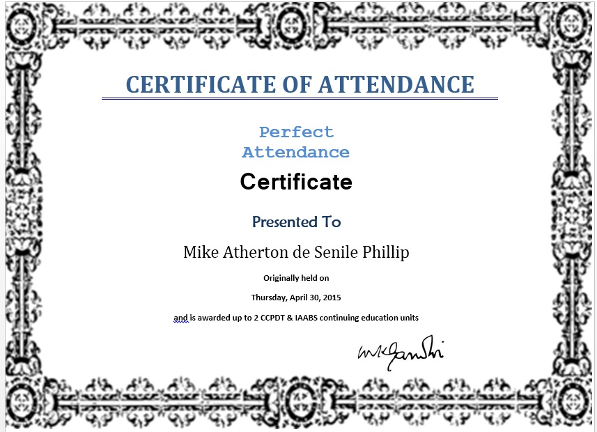 template certificate of attendance