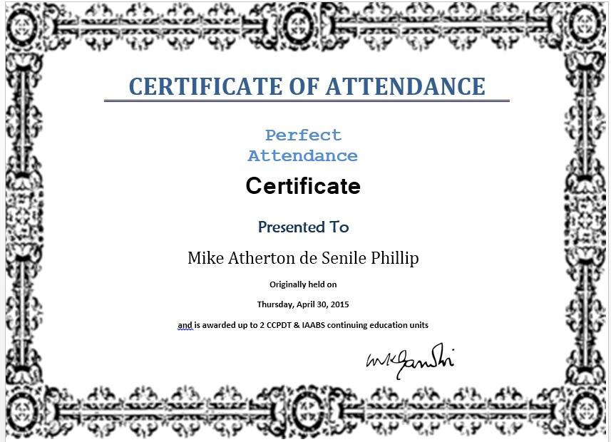 Certificate ...  Blank Certificate Of Attendance