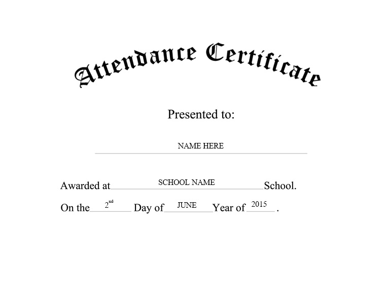 Yet Another Free Perfect Attendance Certificate Template,  Attendance Certificates Printable