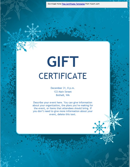 free christmas gift certificate templates for word