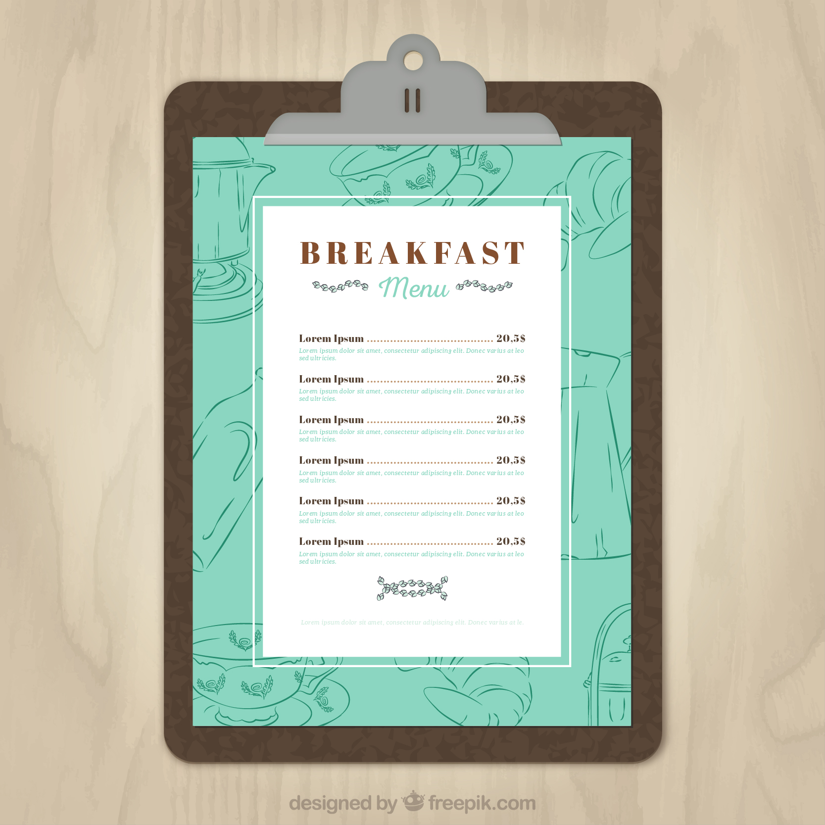 11 free sample breakfast menu templates printable samples for Free menu design templates