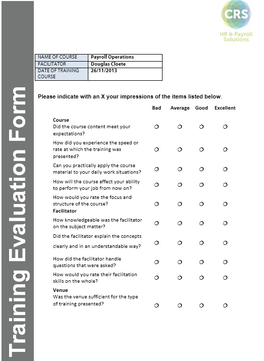 13 Free Sample Training Feedback Form – Printable Samples