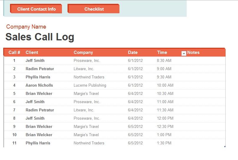 11 Free Sample Telephone Log Templates - Printable Samples