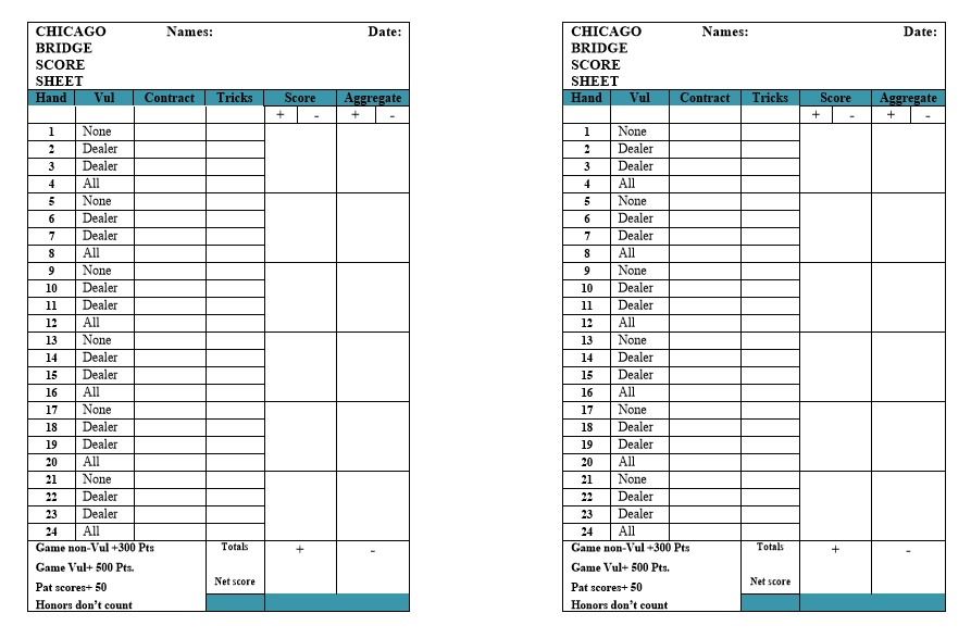 Bridge Score Sheet Template Example Of Dubs Bridge Individual Score