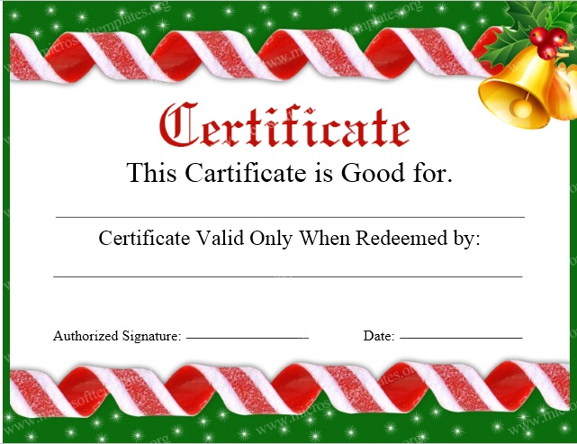 Free Sample Christmas Gift Certificate Templates  Printable