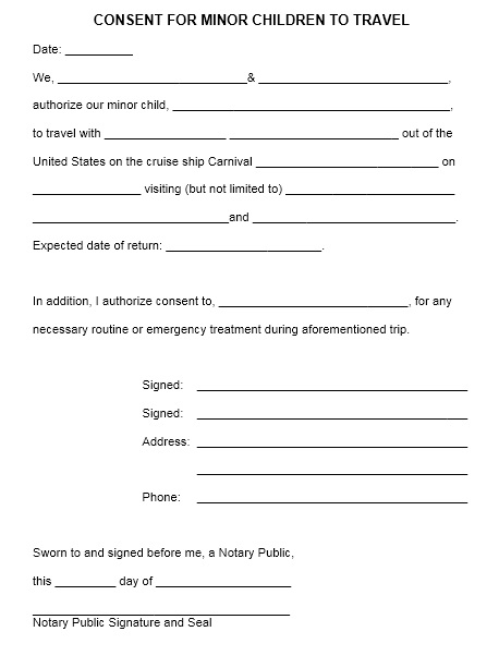 10 Free Sample Travel Consent Form – Printable Samples