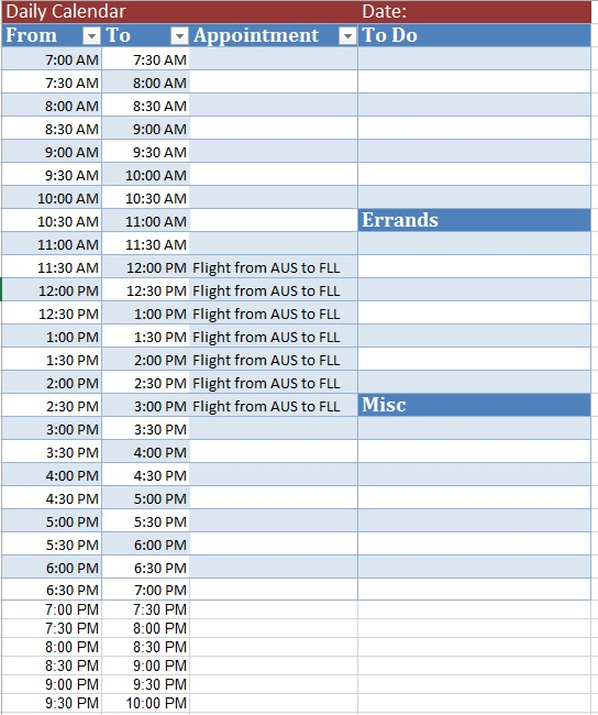 Free Sample Vacation Schedule Templates  Printable Samples