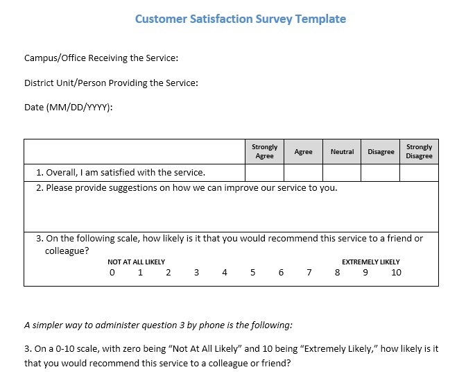 Free Sample Customer Satisfaction Survey  Printable Samples