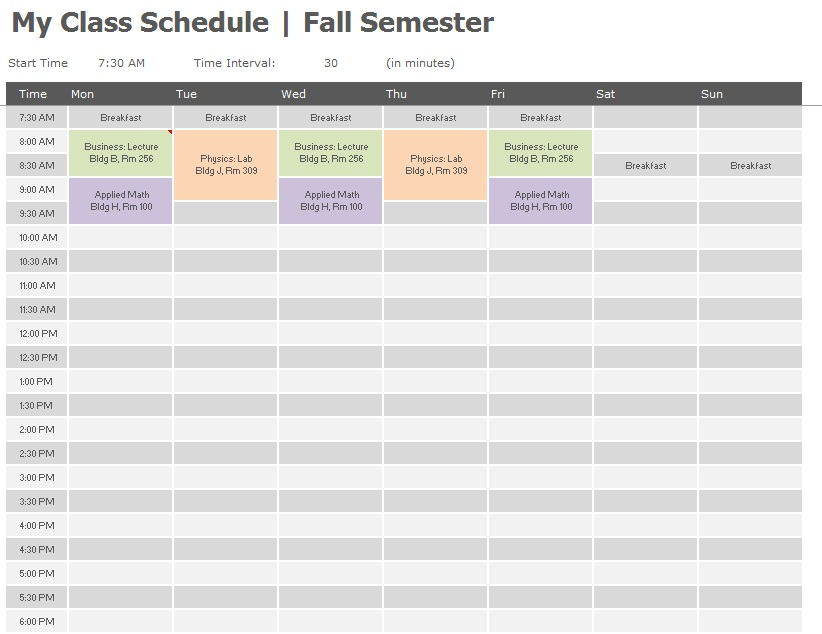 11 free sample class schedule templates