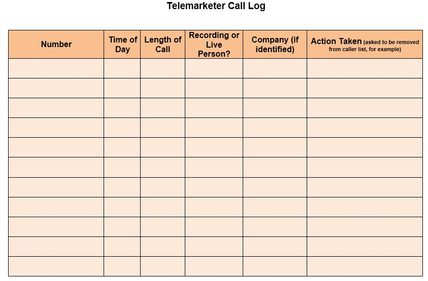 Free Sample Telephone Log Templates  Printable Samples