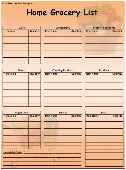 Shopping List Template Blank Grocery List Template Grocery List