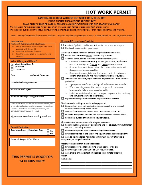 Hw3 hot work permit template 2007 7 printable samples for Hot work permit template free
