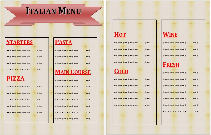 Free Sample Italian Menu Templates  Printable Samples