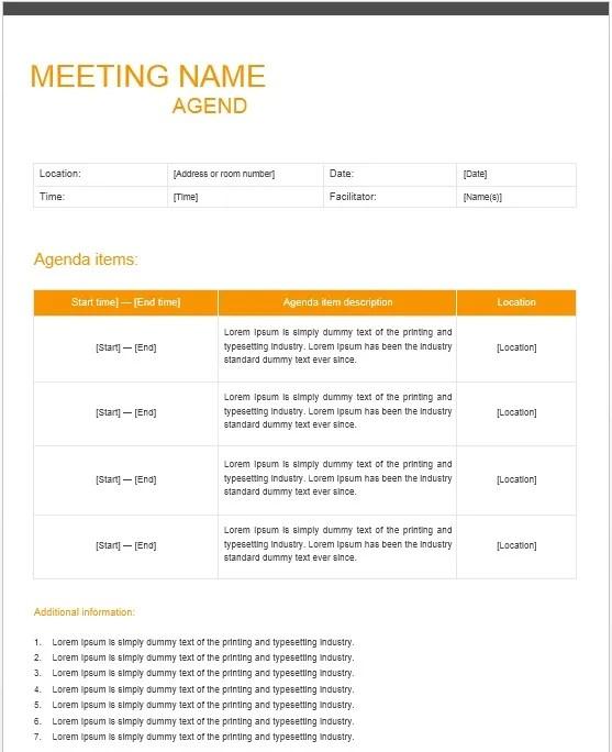 13 Free Sample Office Meeting Agenda Templates - Printable ...